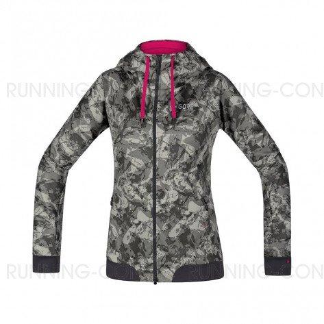 GORE® C5 Windstopper Veste à Capuche Trail Hooded Femme Terra grey camo
